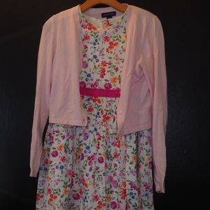 Flower printed dress comes with pink cardigan USED